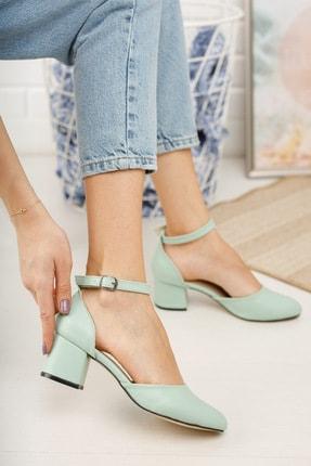 MERVE BAŞ ® Mint Yeşili Cilt Bilekten Tek Bant Kalın Topuklu Klasik Ayakkabı 0