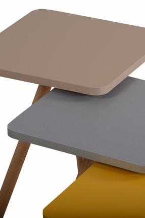 interGO Renkli Üçlü Zigon Sehpa Ahşap Ayaklı Kare Tasarım Pastel Renkler Gri Sarı Cappuccino 3