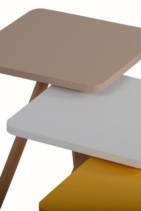 interGO Renkli Üçlü Zigon Sehpa Ahşap Ayaklı Kare Tasarım 3