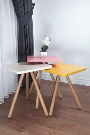 interGO Renkli Üçlü Zigon Sehpa Ahşap Ayaklı Kare Tasarım Pastel Renkler Sarı Krem Pembe 0