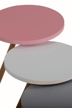 interGO Renkli Üçlü Zigon Sehpa Ahşap Ayaklı Özel Yuvarlak Pastel Tasarım 3