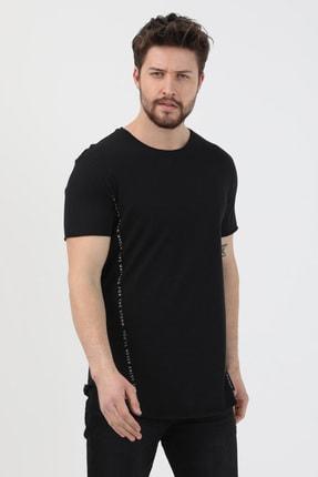 XHAN Siyah Yanı Baskılı T-shirt 1kxe1-44621-02 1
