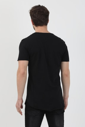 XHAN Siyah Yanı Baskılı T-shirt 1kxe1-44621-02 4