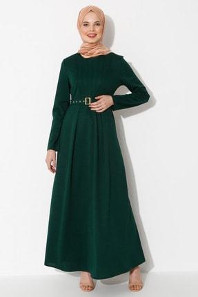 Kadın Zümrüt Yeşili Kemerli Elbise Zümrüt ZENANE 1480482