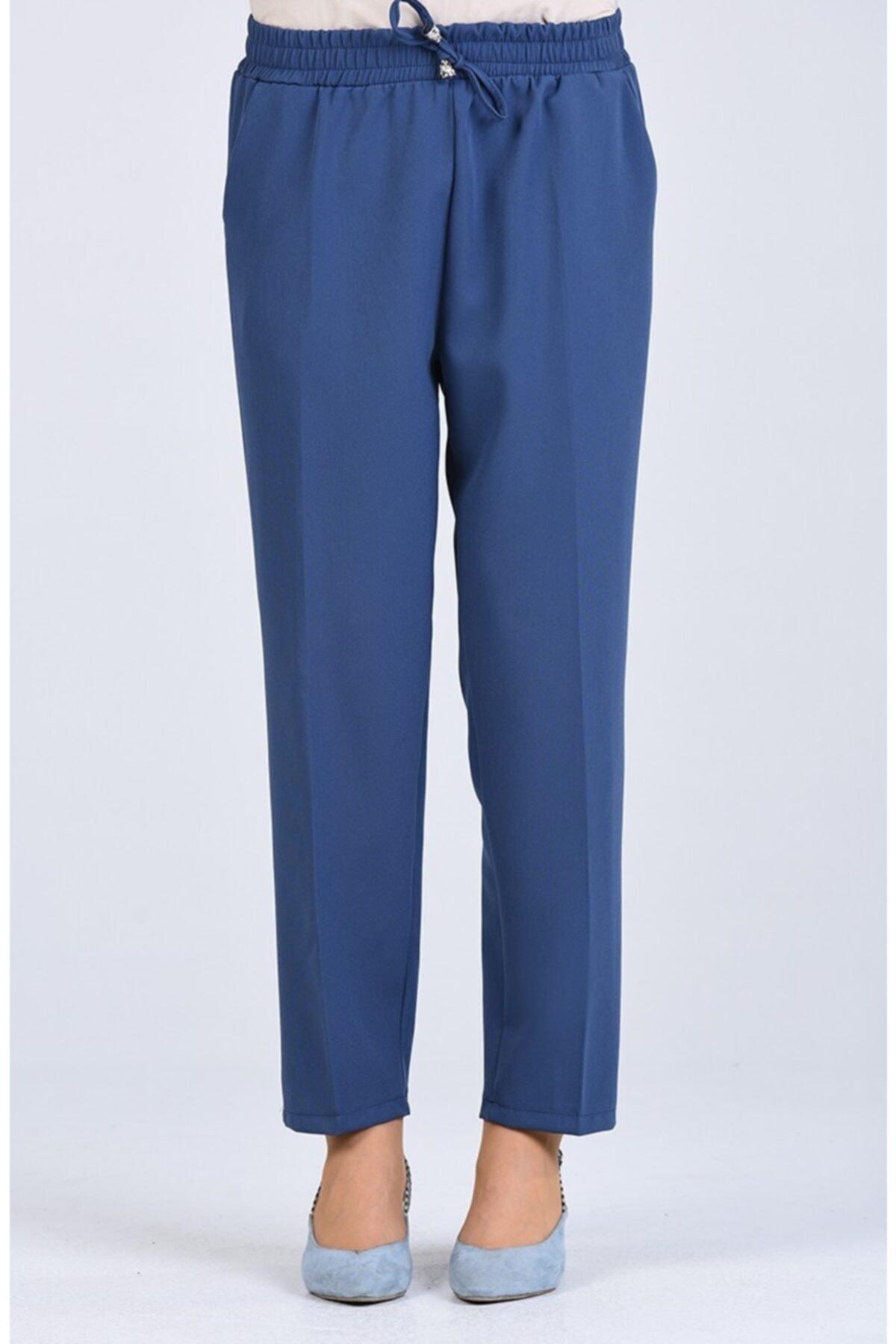 Kadın Mavi Lastikli Havuç Pantolon - Me000275