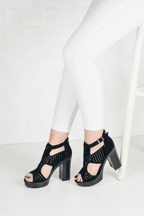 Weynes Kadın Siyah Süet Yüksek Platform Topuklu Ayakkabı 1