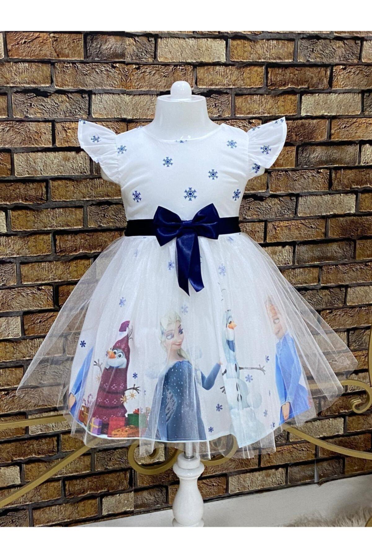 Kız Çocuk Beyaz Frozen Elsa Elbise