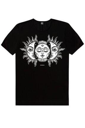 Rock & Roll Erkek Siyah Biz Ayrılamayız, Kuru Güneş, Siyah Ay Güneş 3'lü Eko Paket T-Shirt 3