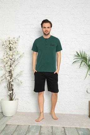 ARCAN Erkek Haki Kısa Kollu Kaprili Pijama Takımı 0