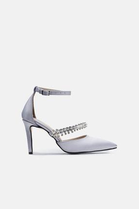 Jorbinol Kadın Gümüş Renk Bant Detaylı Hera Topuklu  Abiye Ayakkabı 0