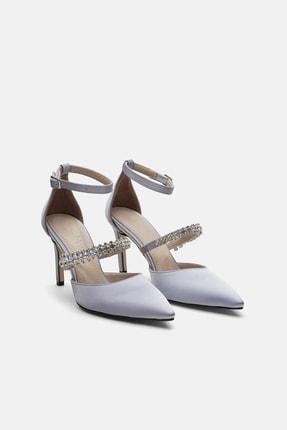 Jorbinol Kadın Gümüş Renk Bant Detaylı Hera Topuklu  Abiye Ayakkabı 1