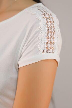 Lukas Kadın Beyaz Omuz Dantelli Tişört 5039. 2