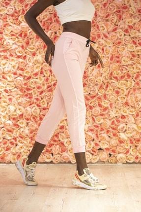 Grenj Fashion Kadın Pembe Yüksek Bel İki İplik Eşofman Altı 2