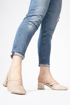 CZ London Kadın Bej Hakiki Deri Sandalet Küt Burun Kare Topuklu Ayakkabı 4
