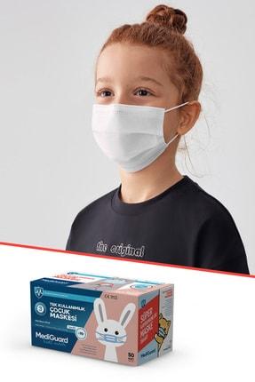 MediGuard Çocuk Beyaz Tıp2r Meltblown 3 Katlı Cerrahi Maskesi 50 Adet 0