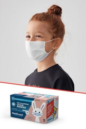 MediGuard Çocuk Beyaz Tıp2r Meltblown 3 Katlı Cerrahi Maskesi 50 Adet 1