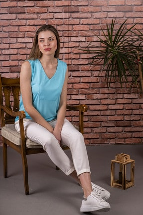 Stamina V Yaka Kolsuz Kadın  Bluz Turkuaz 0