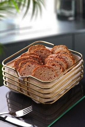 Planet X Büyük Boy Ekmeklik Ekmek Sepeti Lüx Gold Paslanmaz Kare Sepet Bej Kumaş 21 Cm 0