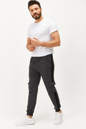 MTSTİL Erkek Antrasit-siyah Kargo Çepli Eşofman Altı 2