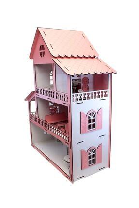 Lora Wedding 63cm Eşyalı Ve 3 Katlı Ahşap Barbie Oyun Evi Pembe 1