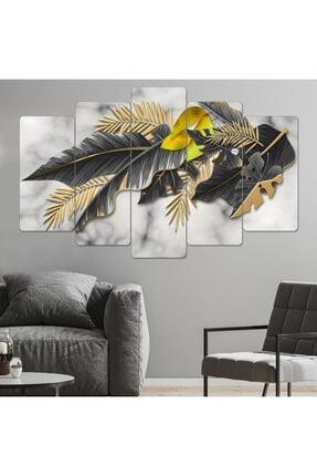 hanhomeart Siyah-gold Yaprak Parçalı Ahşap Tablo Seti-5pr-971 0
