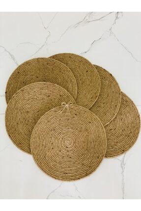 jut Hasır Yuvarlak Servis Supla Örme Bambu Jüt El Yapımı 6 Adet 0