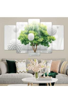 hanhomeart Ağaç Tasarım Parçalı Ahşap Duvar Tablo Seti-5pr-963 0