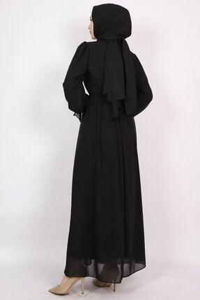 ENDERON Yakası Drapeli Şifon Tesettür Elbise 2