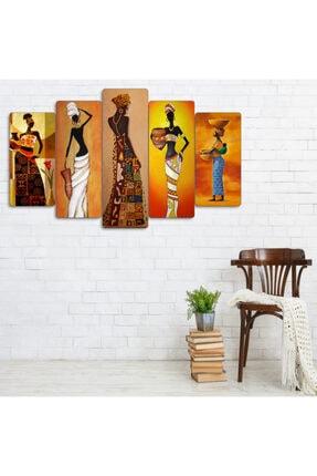 hanhomeart Afrikalı Kadınlar Parçalı Ahşap Duvar Tablo Seti 2