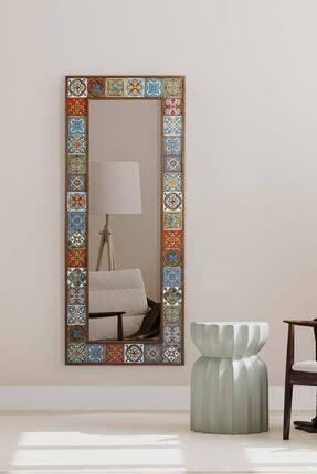 bluecape Doğal Ağaç Çerçeveli  El Yapımı Çini Seramik Kaplı Salon Boy Ayna Çerçevesi 62x149 Cm 2