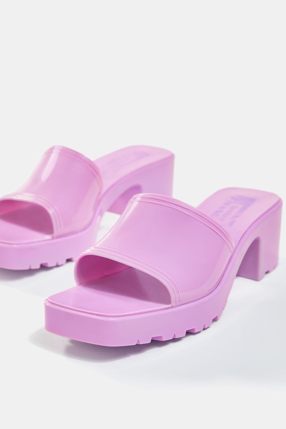 Bershka Kadın Koyu Mor Parlak Topuklu Sandalet 11721760 3