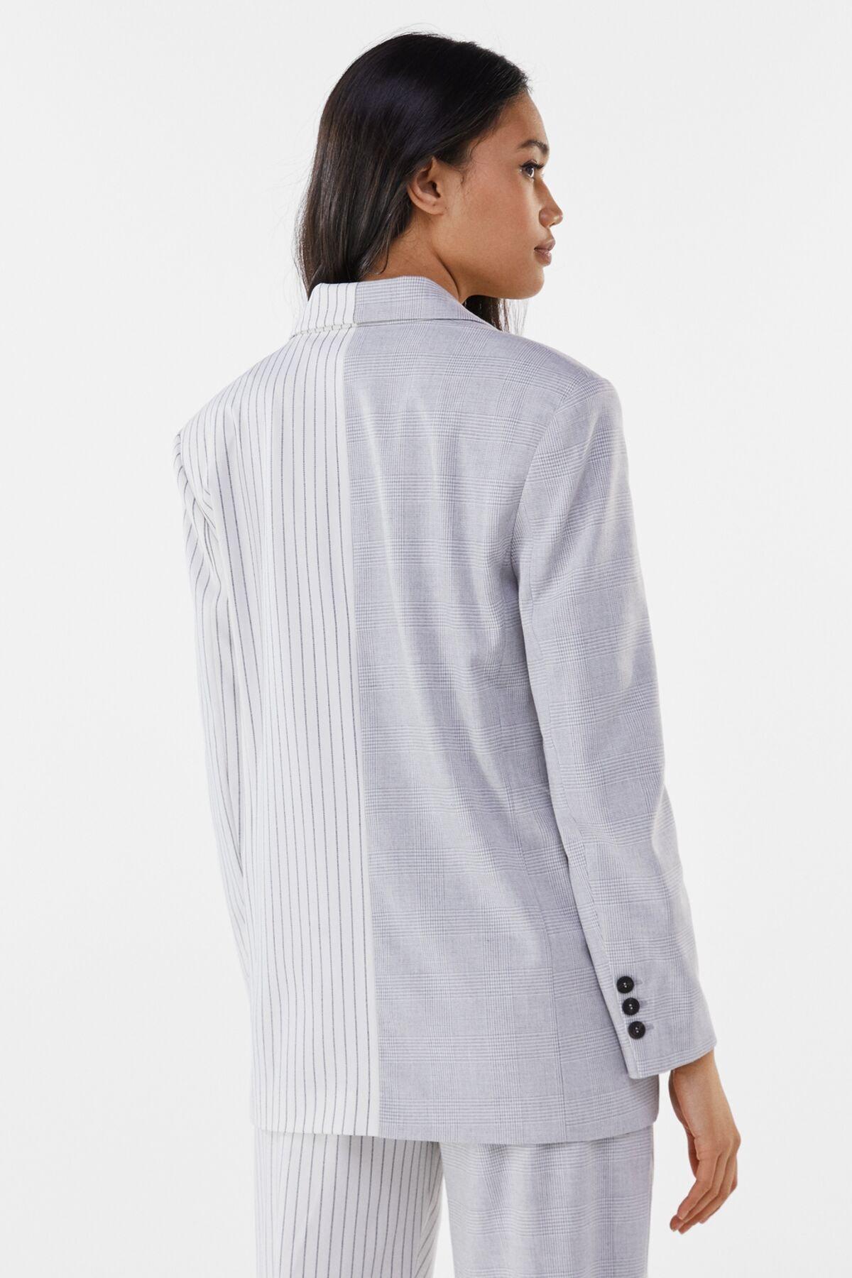 Bershka Kadın Gri Kontrast Klasik Kesim Blazer 01226168 1