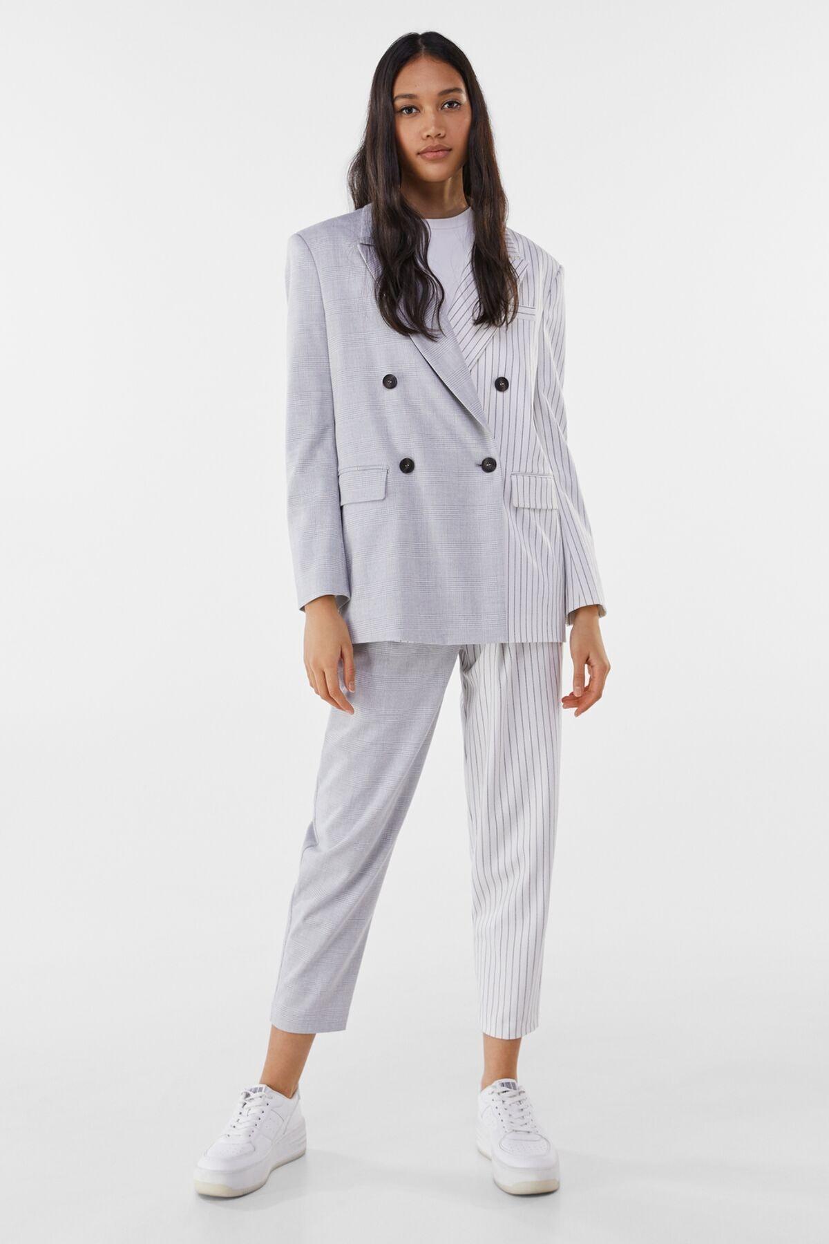 Bershka Kadın Gri Kontrast Klasik Kesim Blazer 01226168 3