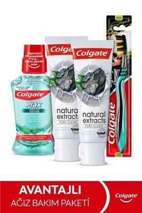 Colgate Natural Extracs Diş Macunu 75 ml x 2,  Zig Zag Orta Diş Fırçası, Plax Ağız Bakım Suyu 250 ml 0