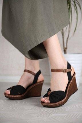 Ccway Kadın Siyah Keten Çapraz Boğumlu Dolgu Topuklu Sandalet 1