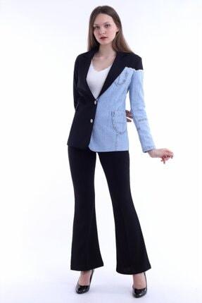 Kadın Modası Kadın Siyah Yakalı Yanı Kot Garnili Astarlı Ceket 2