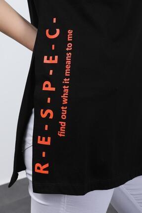 Hepsi Kıyafet Kadın Siyah Baskılı Kuş Gözlü T-shirt 3