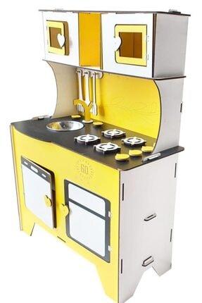 WoodyLife 104 cm Çocuk Odası Ahşap Mutfak Montessori Oyuncak Dolabı Sarı Zeytindalı Oyunevi Kutu 2