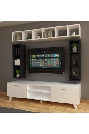 Dekormer Design Tv Ünitesi Dolaplı Siyah Beyaz 180 Cm Ve Kitaplık 1