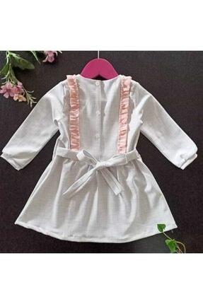 Dolly Baby Kız Çocuk Beyaz Ve Pembe Desenli Elbise 3