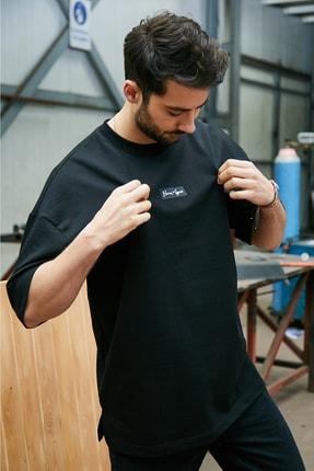 Sateen Men Erkek Siyah Yazı Baskılı T-Shirt 0