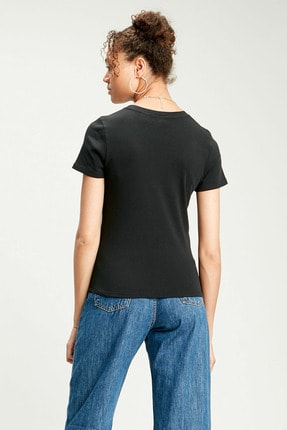 Levi's Kadın Ss Rıb Baby Siyah T-shirt 37697-0014 2