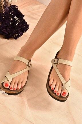 Fox Shoes Kadın Bej Süet Terlik B777753002 1