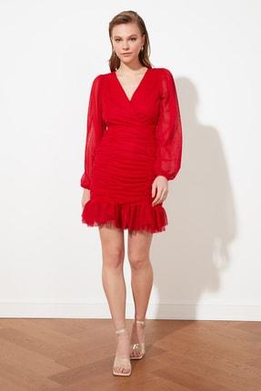 TRENDYOLMİLLA Kırmızı Drape Detaylı  Elbise TPRSS20EL0317 0