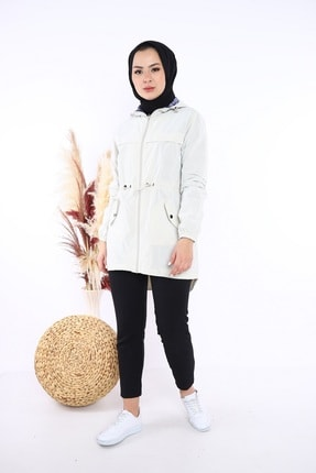 Escetic Kadın Ekru Yağmurluk Ceket 3