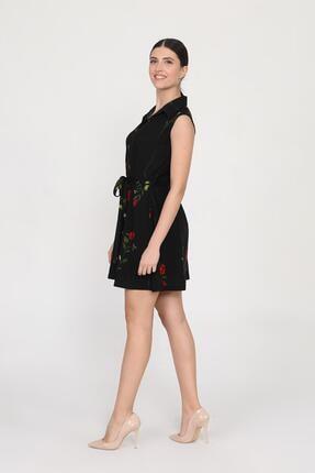 Ceylen Kadın  Önden Düğmeli Desenli Mini Örme Krep Elbise 1
