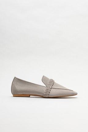 Elle Kadın Gri Deri Loafer Ayakkabı 0