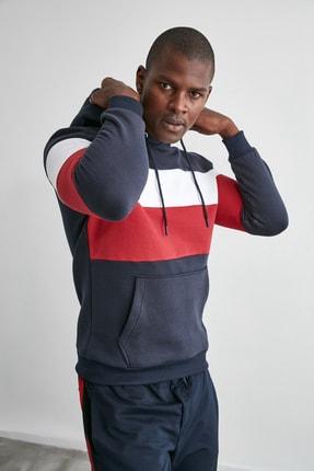 TRENDYOL MAN Lacivert Erkek Slim Fit Kapüşonlu Panelli Kanguru Cepli Sweatshirt TMNAW20SW0284 1