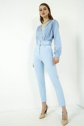 Vis a Vis Kadın Mavi Yüksek Bel Kemerli Pantolon 1