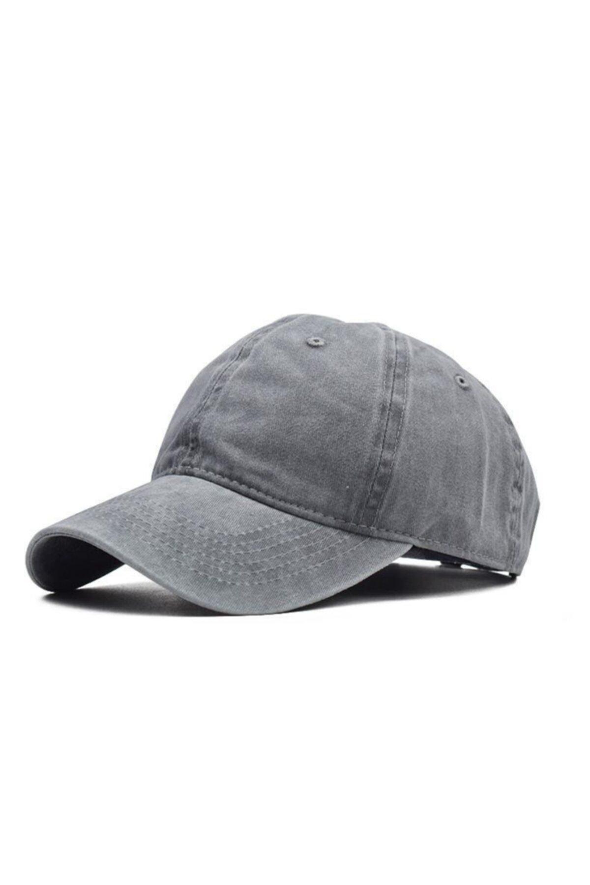 Unisex Gri Eskitme Şapka